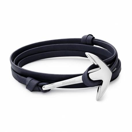 MIANSAI Anchor on Leather Bracelet, Silver Plated, Navy Blue