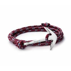 MIANSAI Silver plated Anchor on Burgundy rope