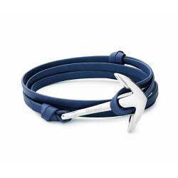 MIANSAI Anchor on blue Leather Bracelet, Silver Plated