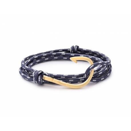 MIANSAI Polished silver Hook on black leather