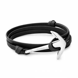 MIANSAI Anchor on black Leather Bracelet, Silver Plated
