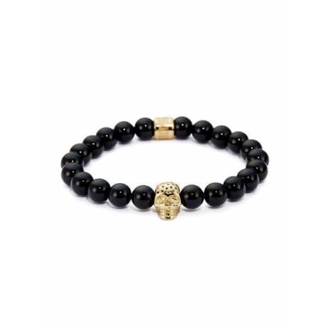 Northskull® Black Onyx & Perforated Gold Skull Charm