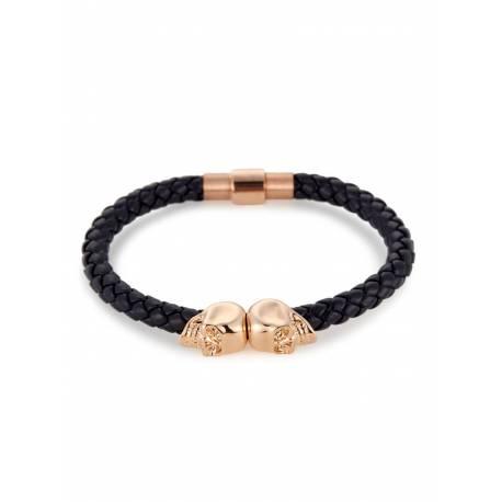 Northskull® Bracelet cuir Nappa bleu marine double crânes Or 18 ct