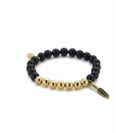 "Northskull® Black Onyx & Gold ""Feather"" Charm Bracelet"