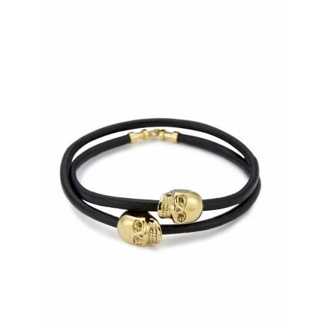 Northskull® Black Leather/ 18kt. Gold Skull Double Wrap bracelet
