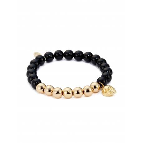 "Northskull® Black Onyx & Gold ""Feather"" Charm Bracelet"