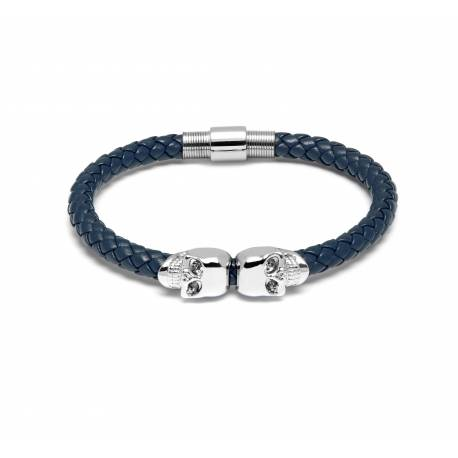 Northskull® Blue denim Nappa Leather & Twin Silver Skull Bracelet