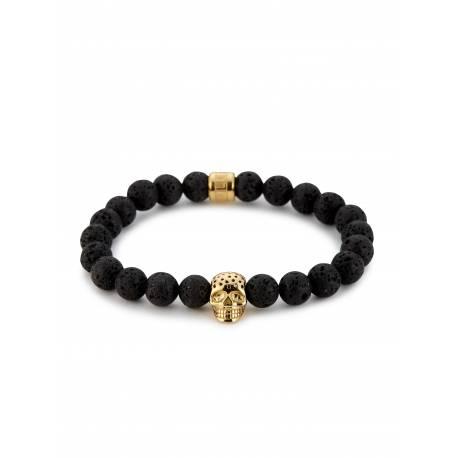Northskull® Bracelet onyx noir et Crane perforé en or