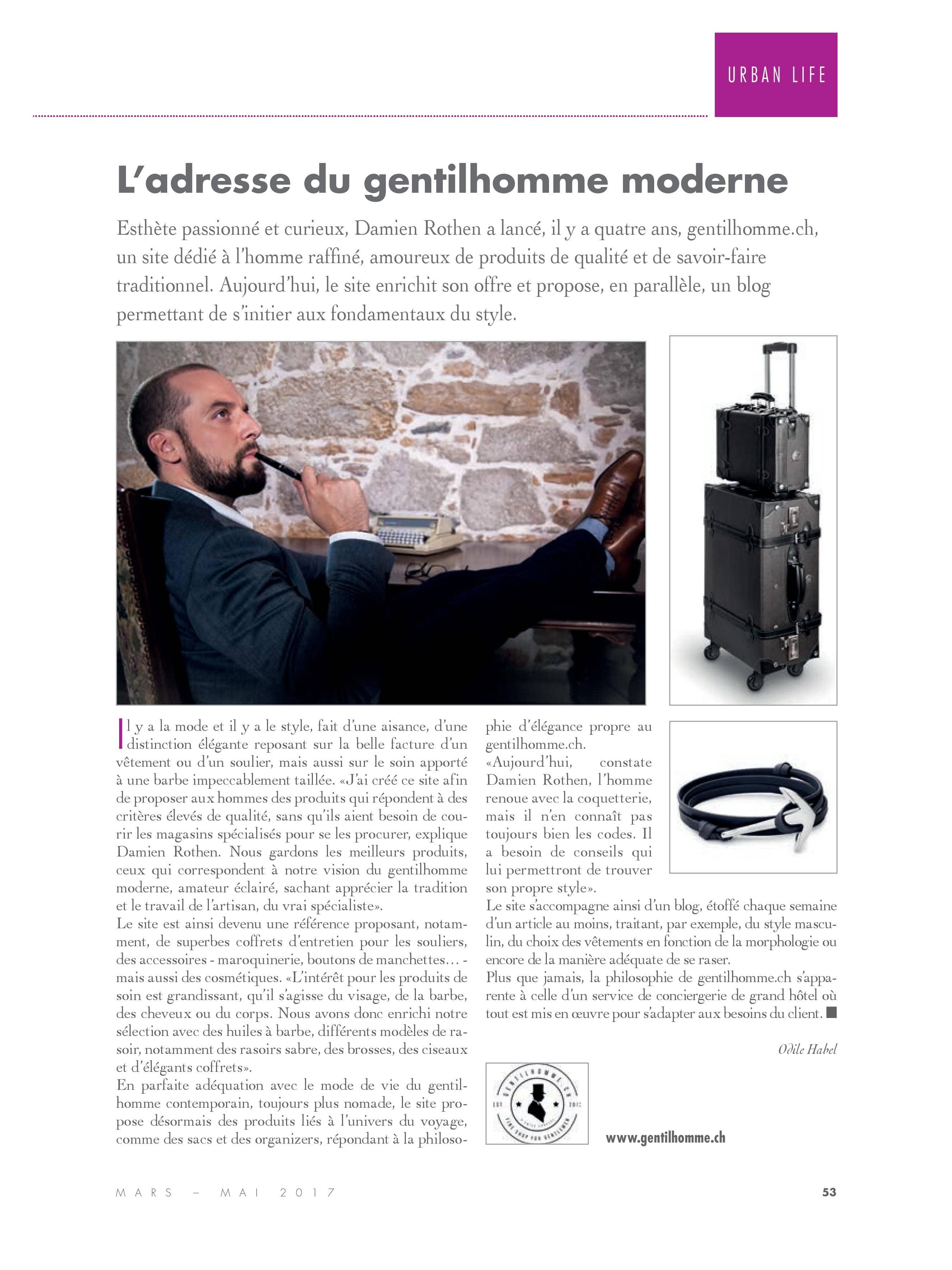 Article consacré à Gentilhomme.ch de Prestige Immobilier